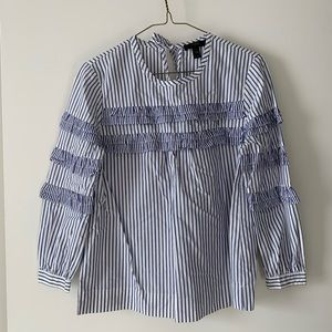 J Crew Long Sleeve Blouse Blue White Striped 00P